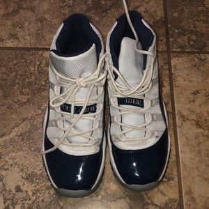 Semi used Jordans 11 Navy Blue and White.